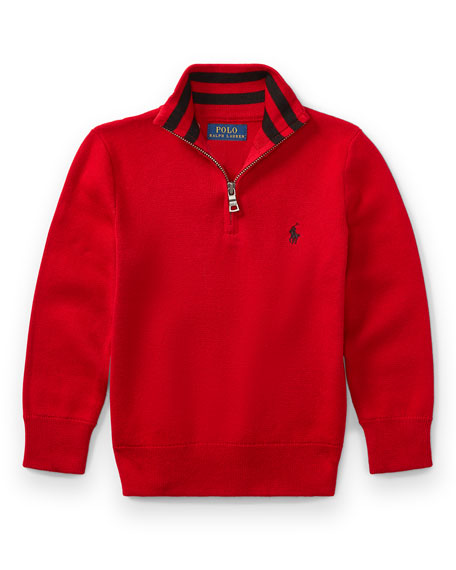 Ralph Lauren Childrenswear Half-Zip Cotton Pullover, Red, Size