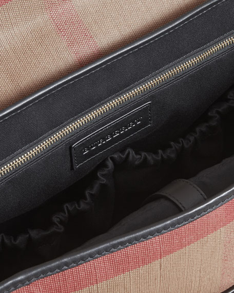 Flap-Top Check Canvas Diaper Bag