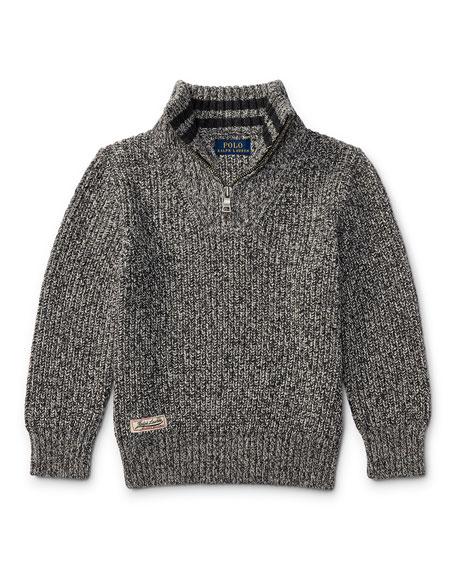 Ralph Lauren Childrenswear Cashlike Half-Zip Marbled Cotton