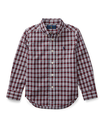 Poplin Plaid Button-Down Shirt, Red Pattern, Size 5-7