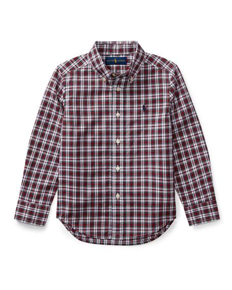 Poplin Plaid Button-Down Shirt, Red Pattern, Size 5-7
