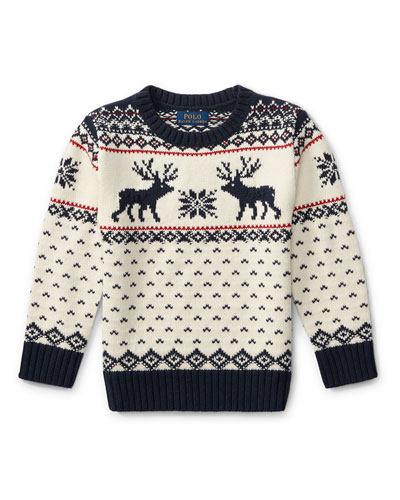 Reindeer Knit Sweater, Size 5-7