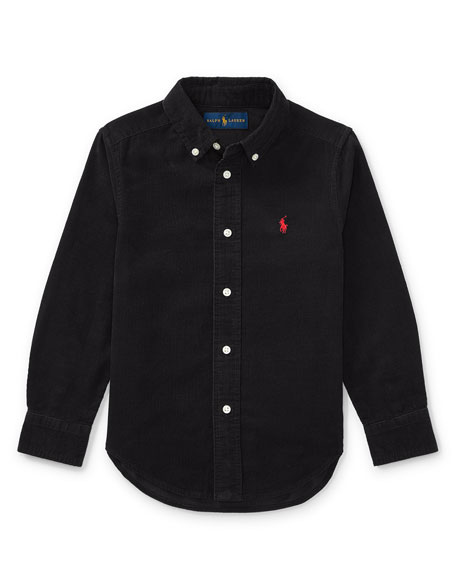 Elbow-Patched Corduroy Collared Shirt, Size 5-7