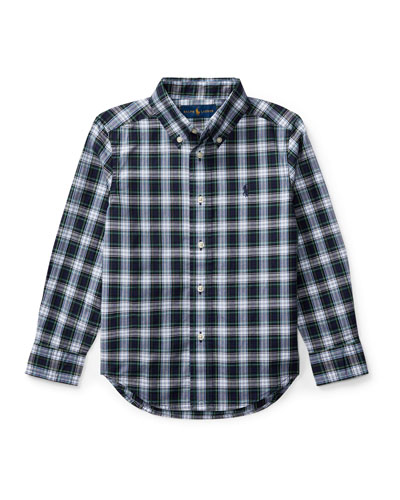 Poplin Plaid Button-Down Shirt, White Pattern, Size 5-7