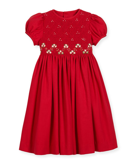 Smock Embroidered Dress, Size 7-10