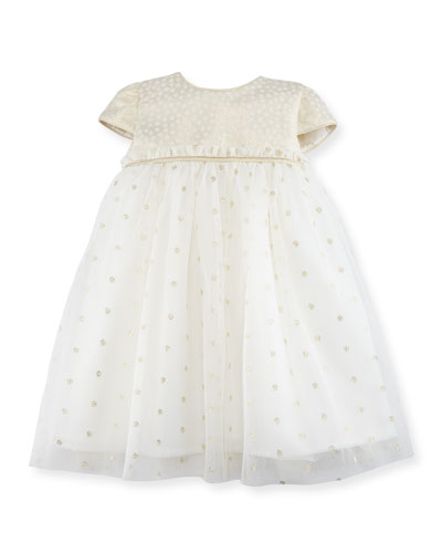 Empire-Waist Dotted Tulle Dress, Size 12-24 Months