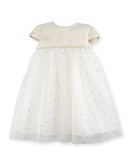 Luli & Me Empire-Waist Dotted Tulle Dress, Size