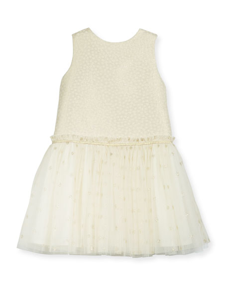 Luli & Me Drop-Waist Dotted Tulle Dress, Size
