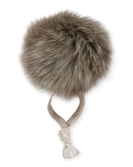 Fur Pompom Ponytail Holder, Gray