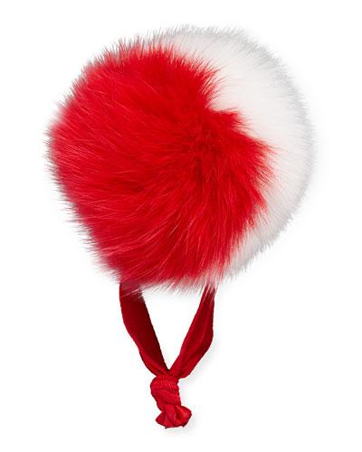 Fur Two-Tone Pompom Ponytail Holder, Red/White
