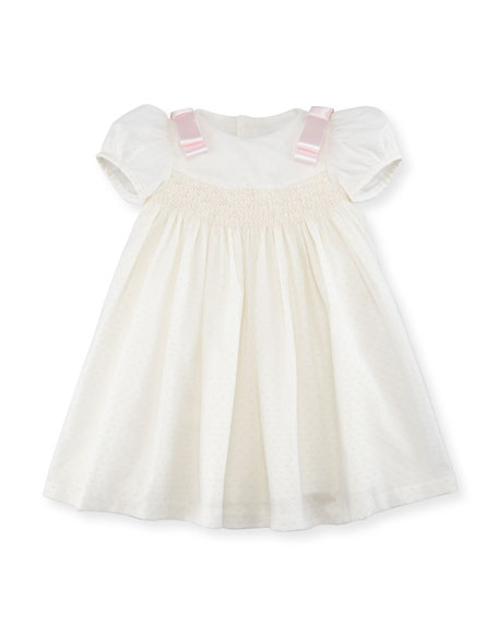 Luli & Me Ribbon Dotted-Tulle Dress, Size 2-4T