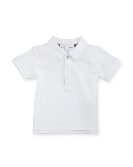 Burberry Palmer Short-Sleeve Polo Shirt, White, Size 6M-3Y