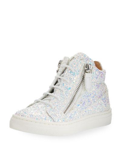Mattglitt High-Top Glitter Sneaker, Toddler/Youth Sizes 10T-2Y