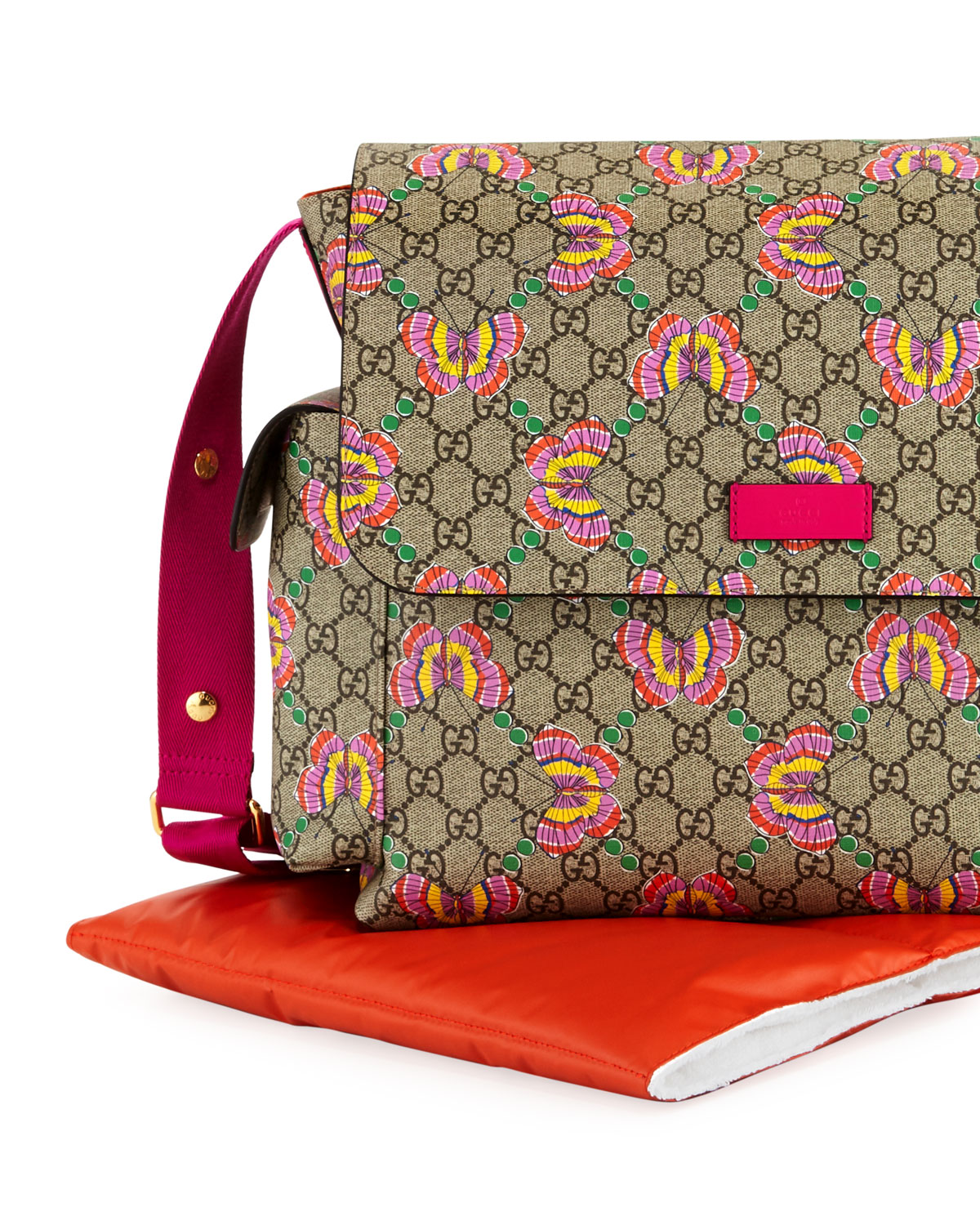695b34015 Gucci GG Supreme Canvas Butterfly Diaper Bag w/ Changing Pad | Neiman Marcus