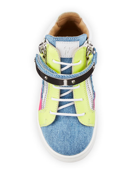 Ares Denim Patchwork Sneakers, Toddler/Youth Sizes 10T-2Y