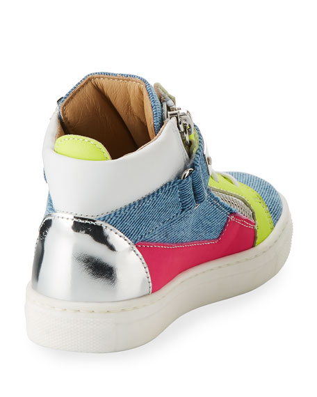 Ares Denim Patchwork Sneaker, Toddler/Youth Sizes 10T-2Y
