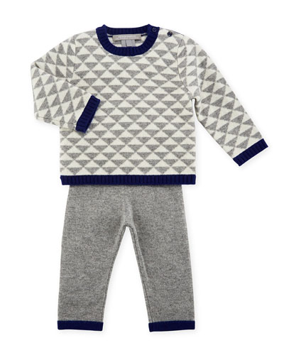 Geo Triangles Crewneck Sweater w/ Pants, Size 6-18 Months