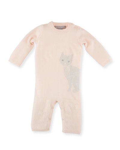 Knit Kitty Cat Coverall, Size 3-12 Months