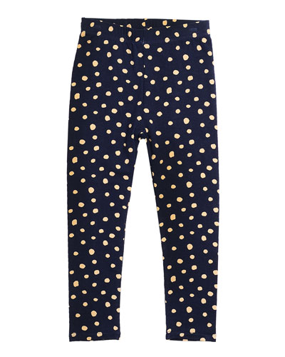 Alyssa Polka-Dot Leggings, Navy, Size 2-6