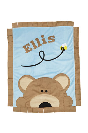 Boogie Baby Personalized Peek-a-Boo Bear Plush Blanket, Brown