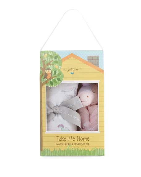 Take Me Home Unicorn Swaddle and Blankie Gift Set