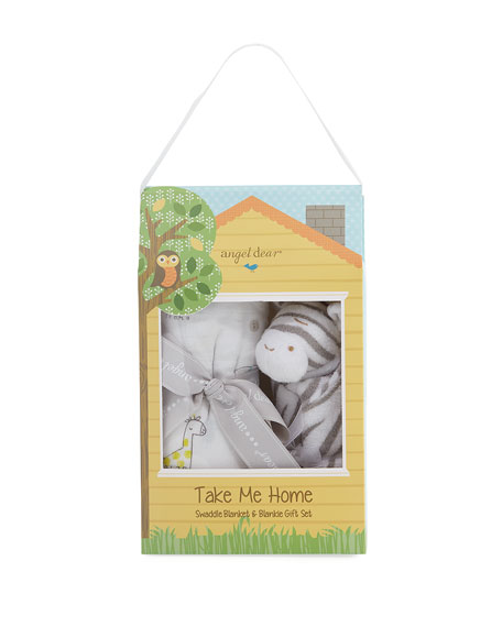 Take Me Home Planet Swaddle and Zebra Blankie Gift Set