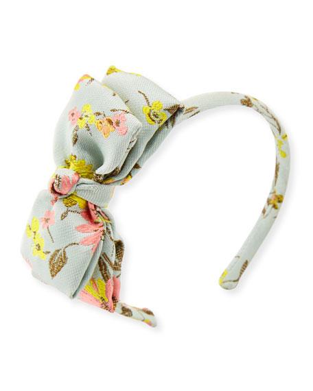 Girls' Jacquard Peony Bow Headband