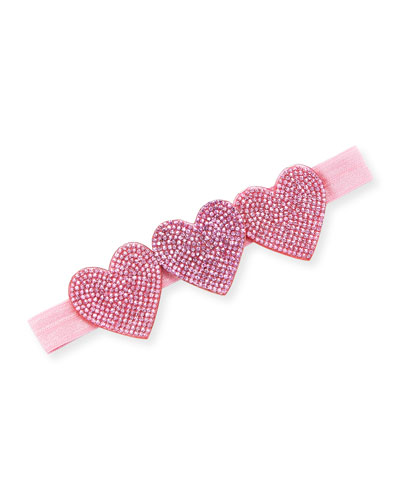 Girls' Crystal Hearts Headband, Pink