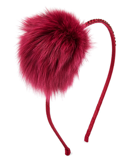 Bari Lynn Girls' Crystal Headband w/ Fur Pompom,