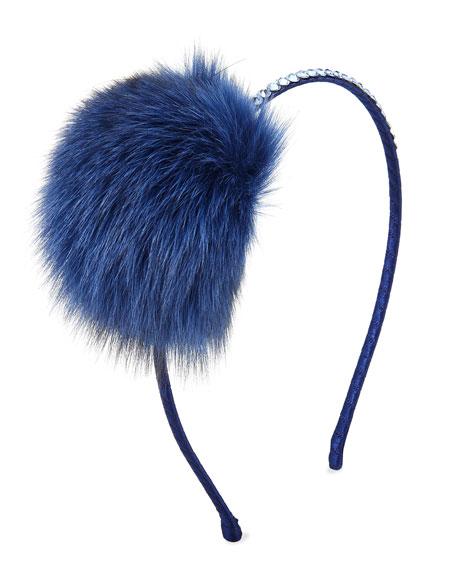 Bari Lynn Girls' Crystal Headband w/ Fur Pompom,