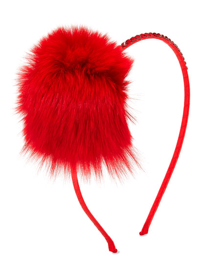 Bari Lynn Crystal Headband w/ Fur Pompom, Red