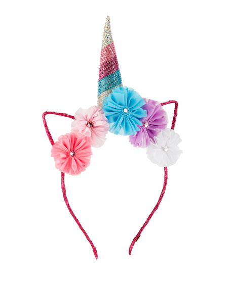 Bari Lynn Girls' Crystal Unicorn Horn, Flowers &