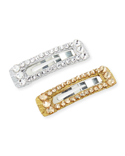 Girls' 2-Piece Crystal Snap-Clip Hair Set, Silver/Gold