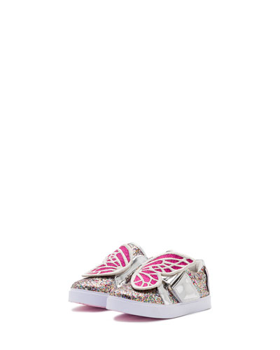 Bibi Butterfly Low-Top Glittered Sneaker, Size 5T-3Y
