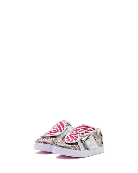 Sophia Webster Bibi Butterfly Low-Top Glittered Sneakers,