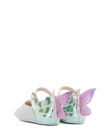 Chiara Glittered Butterfly-Wing Flat, Infant Sizes 0-12 Months