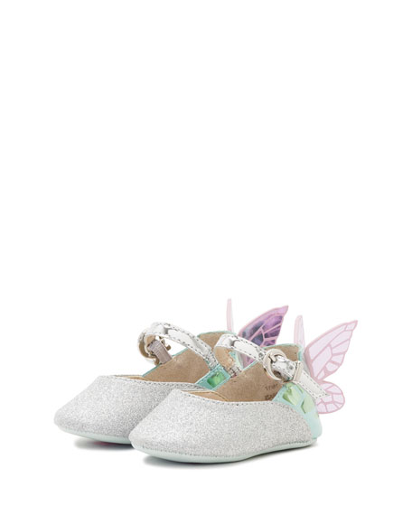 Sophia Webster Chiara Glittered Butterfly-Wing Flat, Infant Sizes