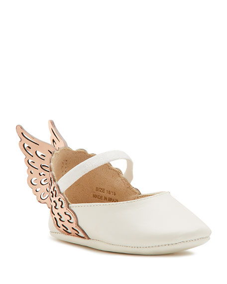 Evangeline Leather Butterfly-Wing Flat, White, Infant Sizes 0-12 Months