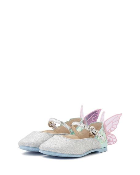 Sophia Webster Chiara Glittered Butterfly-Wing Flat, Size 5T-3Y