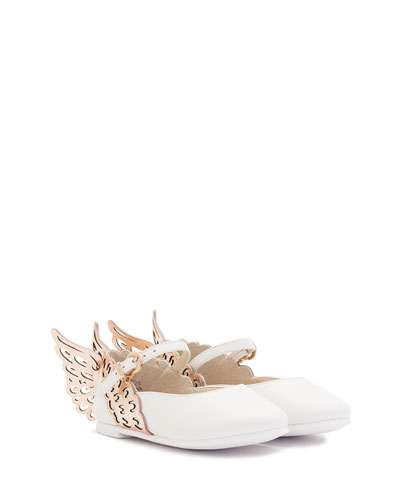 Evangeline Leather Butterfly-Wing Flat, White, Size 5T-3Y
