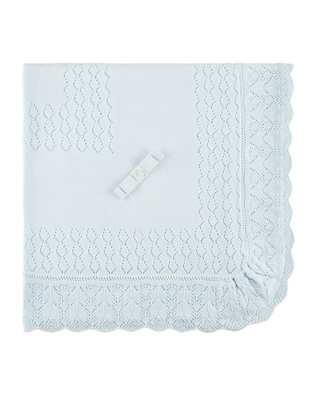 Pili Carrera Diamond-Pointelle Knit Baby Blanket w/ Scalloped