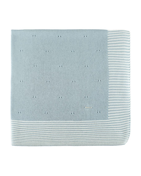 Knit Cotton Baby Blanket w/ Stripe Border, Blue