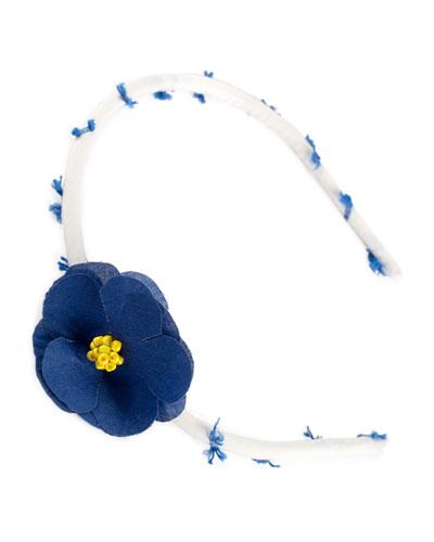 Girls' Flower Headband, Navy Pattern