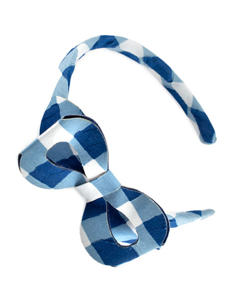 Pili Carrera Girls' Cotton Gingham Headband, Blue