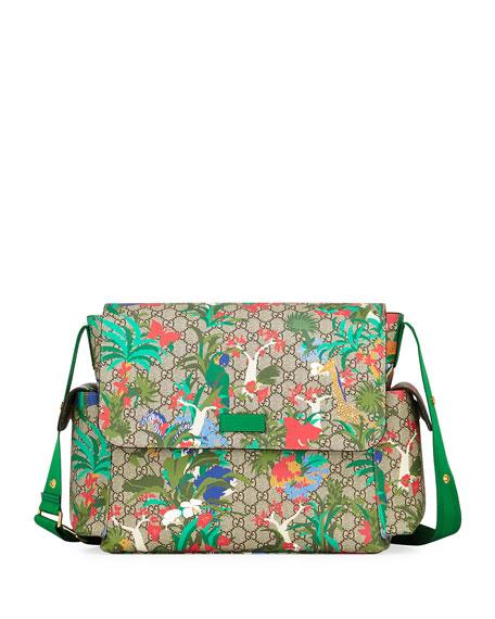 Gucci Borsa Mamma GG Supreme Canvas Jungle-Print Diaper