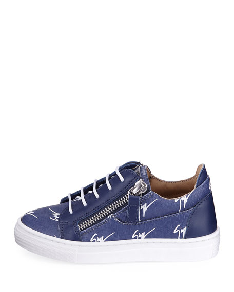 Logo-Print Leather Low-Top Sneaker, Toddler/Youth Sizes 10T-1Y
