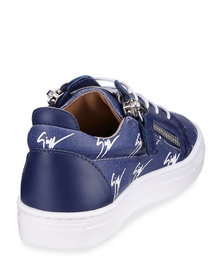 Logo-Print Leather Low-Top Sneakers, Toddler/Youth Sizes 10T-1Y