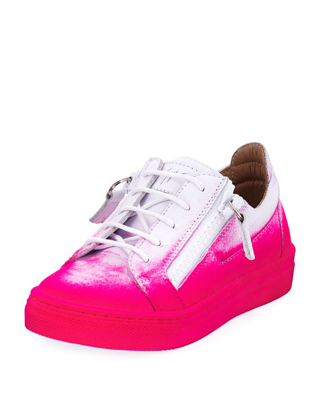 Giuseppe Zanotti Smuggy Graffiti-Print Leather Sneaker, Kids' and