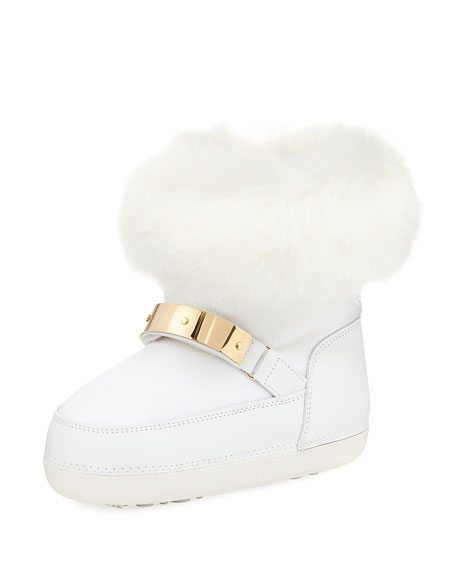 Giuseppe Zanotti Kids' Snow Laceless Fur Boot, Infant/Toddler