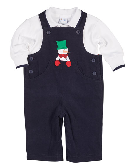Florence Eiseman Snowman Overalls w/ Long-Sleeve Polo, Size